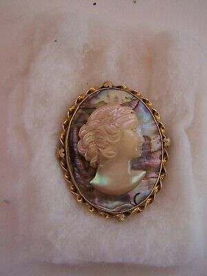 Antique Victorian Large 14K Mother Of Pearl And Abalone Carved Cameo