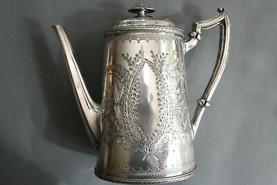 Vintage Atkin Brothers Lid. Silver Plated Engraved Oval Coffee Pot