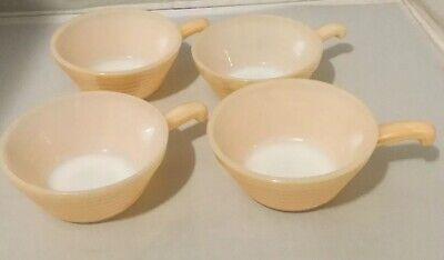 Vintage Set 4 Fire King Oven Ware Handled Soup Chili Bowl Bee Hive Peach Luster