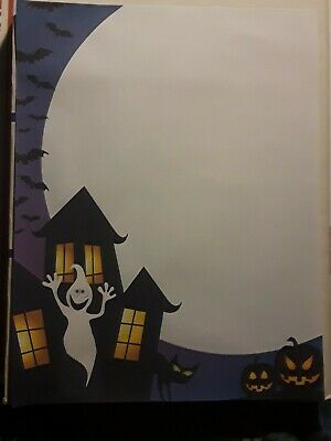 25 Sheets Computer Stationary Halloween Scene 8-1/2 x 11