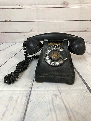 Bell Systems Black Rotary Phone Very Old Heavy
