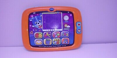 VTech Light-Up Baby Touch Tablet Teaches Letters Numbers Shapes - Orange