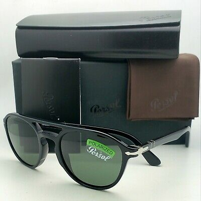 PERSOL Sunglasses 3170-S 9014/58 52-20 Black Aviator Frames w/ POLARIZED Lenses