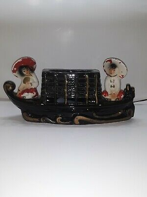 1950's MID CENTURY Chinese BOAT Asian Ceramic TABLE LAMP