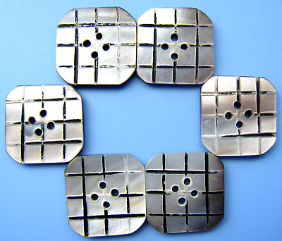 STUNNING Antique ART DECO Square Carved Mother of Pearl MOP Buttons Lot of 6