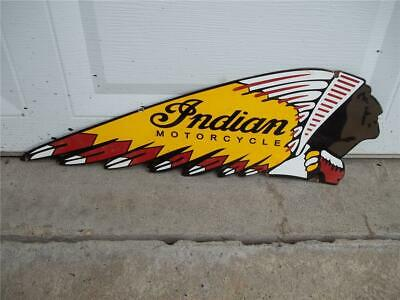 Large Vintage Heavy Porcelain Indian Motorcycle Sign 24X8 Inches Headdress