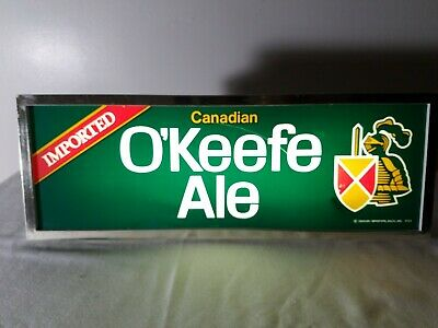 IMPORTED O'KEEFE CANADIAN ALE BEER PLASTIC LIGHTED BAR / TAVERN Sign BALTIMORE
