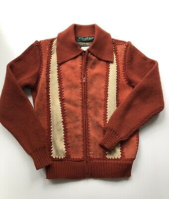 Vintage 70s Kids Boys Suede Leather & Acrylic Knit Zip Up Jacket - Size 10