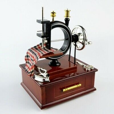Sewing Machine Music Box Vintage Classical Desk Decor for Kids Christmas Gift
