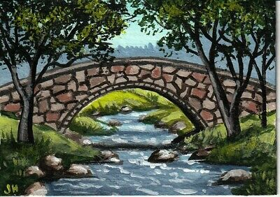 "aceo original acrylic painting ""Large Stone Bridge"" by J. Hutson"