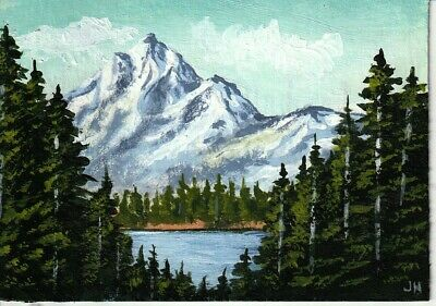 "aceo original acrylic painting ""Wilderness Mountain Lake"" by J. Hutson"