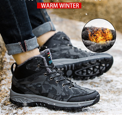 Men's Camouflage Military Waterproof Winter Warm Velvet Snow Boots Work Shoes