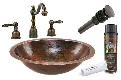 Premier Copper Products - BSP2_LO19FDB Bathroom Sink, Faucet and Accessories