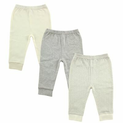 Luvable Friends Boy and Girl Baby Tapered Ankle Pants, 3-Pack, Gray Stripes