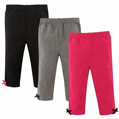 Hudson Baby Girl Baby Leggings with Ankle Bows, 3-Pack, Pink and Gray