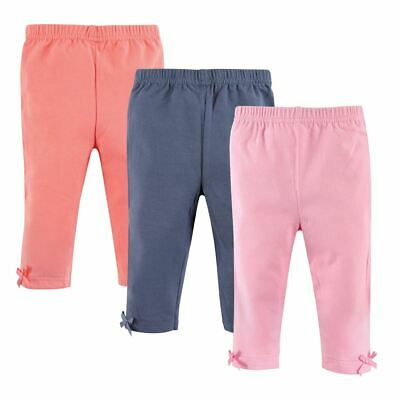 Hudson Baby Girl Baby Leggings with Knotted Ankle Bows, 3-Pack, Pink and Navy