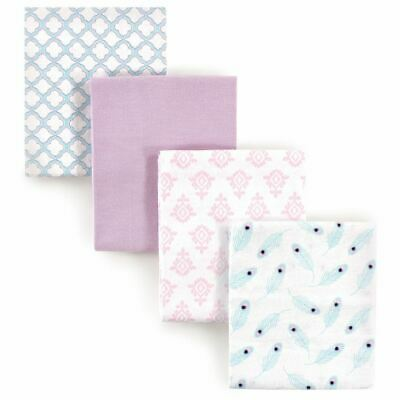 Hudson Baby Girl Flannel Receiving Blankets, 4-Pack, Peacock Feathers