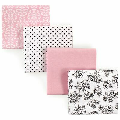 Hudson Baby Girl Flannel Receiving Blankets, 4-Pack, Black and Pink Flowers