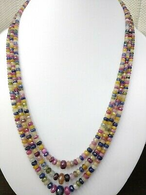 Natural Multi Sapphire GF Gemstone 5-12 MM Faceted Rondelle Stone Beads Necklace