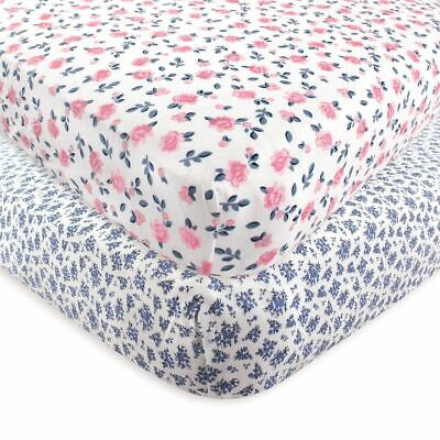 Hudson Baby Girl Fitted Crib Sheet, 2-Pack, Floral