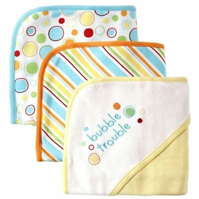 Luvable Friends Boy and Girl Hooded Towels, 3-Pack, Yellow