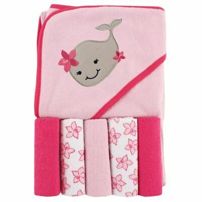 Luvable Friends Girl Hooded Towel with Washcloths, 6-Piece Set, Girl Whale