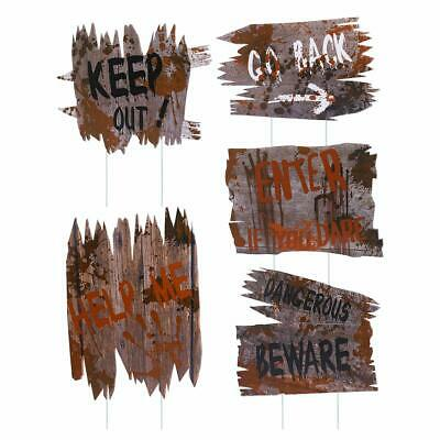 5 Pc Beware Halloween Scary Yard Stake Signs Plastic Wooden Look Realistic Blood