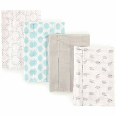 Luvable Friends Boy and Girl Flannel Burp Cloth, 4-Pack, Elephants