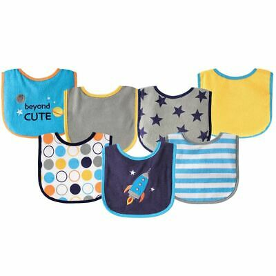Luvable Friends Boy Drooler Bib with Waterproof Back, 7-Pack, Blue Spaceship