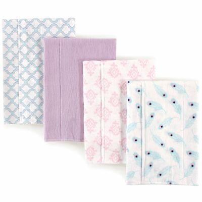 Hudson Baby Girl Flannel Burp Cloth, 4-Pack, Peacock Feathers