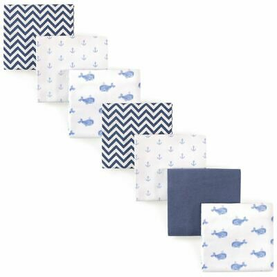 Hudson Baby Girl Flannel Receiving Blankets, 7-Pack, Blue Whales