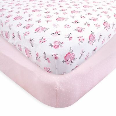 Hudson Baby Girl Fitted Crib Sheets, 2-Pack, Pink Floral