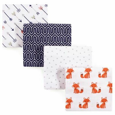 Hudson Baby Boy Flannel Receiving Blankets, 4-Pack, Foxes