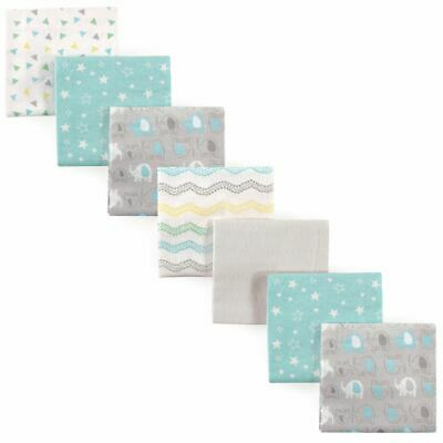 Luvable Friends Boy and Girl Flannel Receiving Blanket, 7-Pack, Basic Elephant