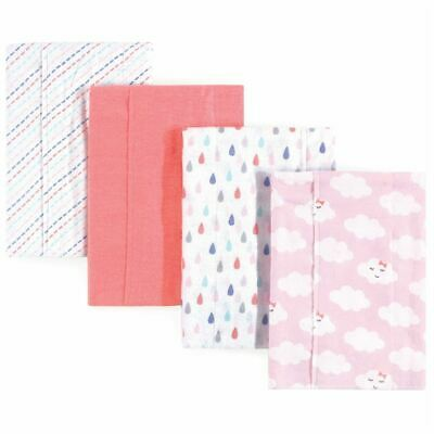 Luvable Friends Girl Flannel Burp Cloth, 4 Pack, Girl Clouds