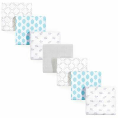 Luvable Friends Boy and Girl Flannel Receiving Blanket, 7-Pack, Elephant