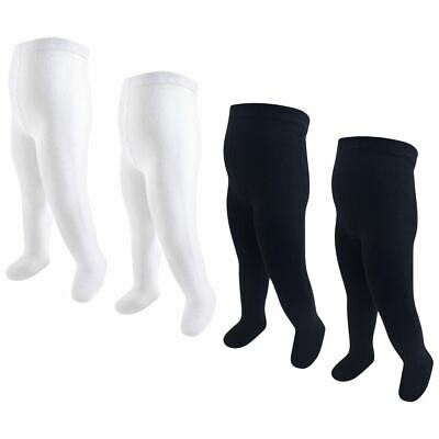 Hudson Baby Girl Cotton Tights, 4-Pack, Black and White