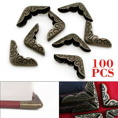 100PCS Metal Book Corner Scrapbooking Protectors Albums Folder File Bronze