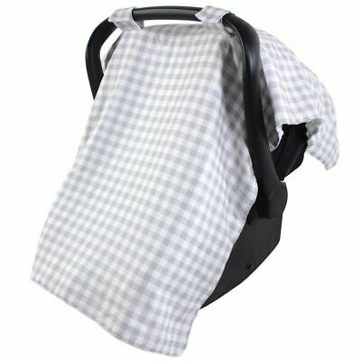 Hudson Baby Boy and Girl Reversible Car Seat Canopy, Gray Gingham