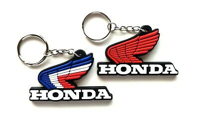 2X Honda Classic Wing Logo Keychain Key Ring Rubber Motorcycle