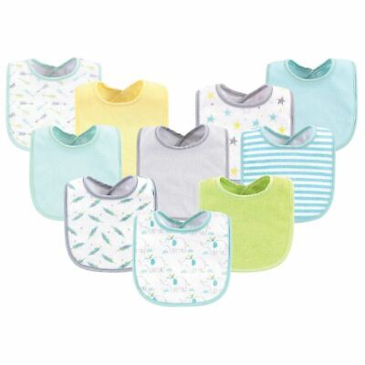 Luvable Friends Boy and Girl Drooler Bib, 10-Pack, Neutral Elephant/Stars