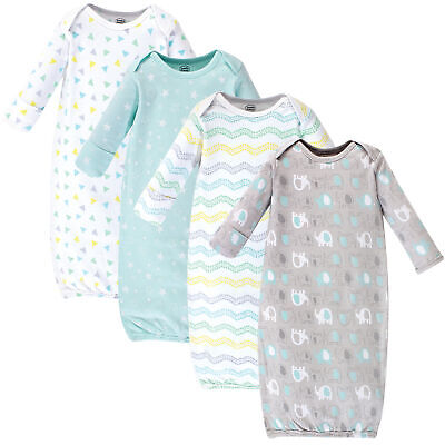Luvable Friends Boy and Girl Cotton Gowns, Basic Elephant, 4-Pack, 0-6 Months