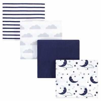 Hudson Baby Boy and Girl Flannel Receiving Blanket, 4 Pack, Moon, One Size