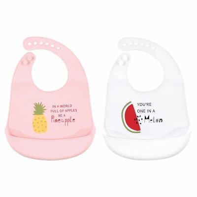 Hudson Baby Girl Waterproof, Easy Wipe, Silicone Bib with Pocket, Fruits, One Si