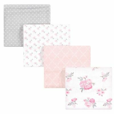 Hudson Baby Girl Flannel Receiving Blankets 4pk, Pink Floral, One Size