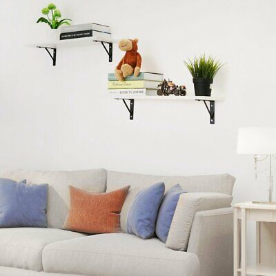 2 pcs White Wooden Wall Mounted Shelf Floating Display Storage Rack Wood Holder