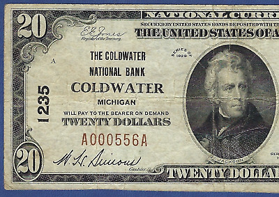 Mi 1929 $20   ♚♚Coldwater, Michigan♚♚    The Coldwater Nb