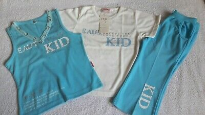 Girls New White/Blue Tops & Trousers 3 Piece Outfit Set - Size 6 (3-4 Years)