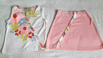 Girls Bnwt White Flower Top & Pink Skirt 2 Piece Outfit - Size M (2-3 Years)