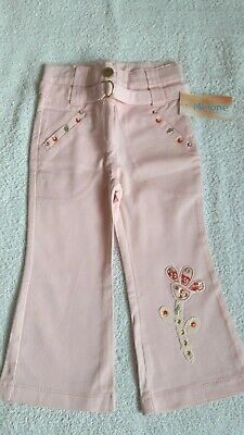 Girls Bnwt Pink Boot Leg Style Cotton Blend Trousers By Melone (Age 2 Years)